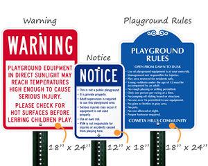 Custom Playground Signs Sizes
