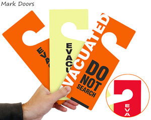 Door evacuation tags