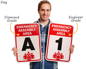 Emergency assembly area signs