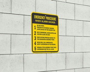 Emergency evacuation procedure sign