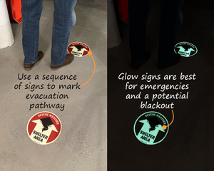 Emergency shelter pathway signs