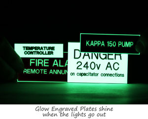 Engraved glow in the dark plates