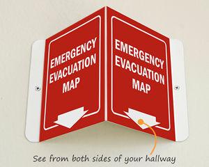 Evacuation map location sign