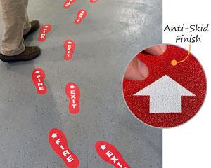 Fire exit floor markers