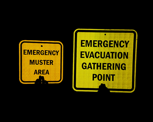 Reflective Emergency Evacuation Gathering Point Signs