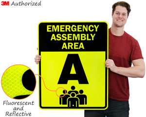 Fluorescent and Reflective Assembly Area Signs