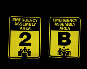 Reflecting Evacuation Assembly Area Signs