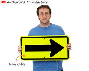 Fluorescent reflective arrow sign