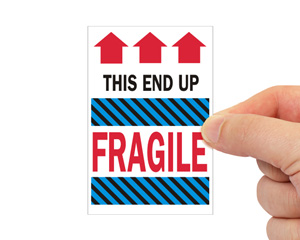 Fragile This End up Liquid Shipping Label