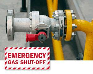 Gas shut off signs