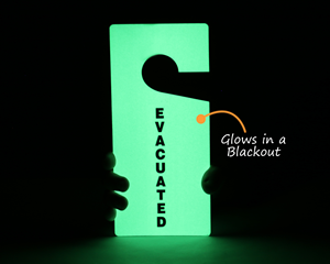 Glow in the dark evacuation tags