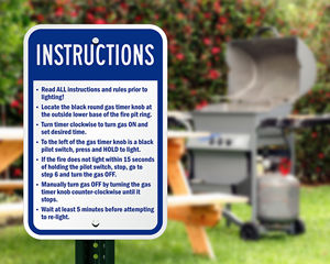 Grill instruction sign