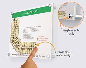 High-tech evacuation map holder