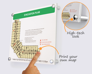 High-tech evacuation map holder