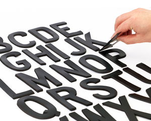 Kit of black die cut letters