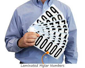 Laminated mylar numbers