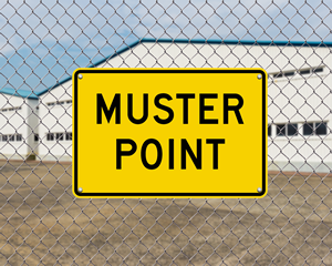 Large muster point sign