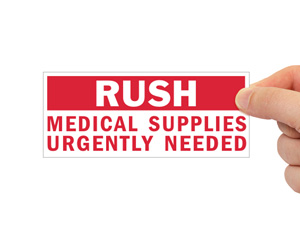 Rush Medical Supplies Urgently Needed Label