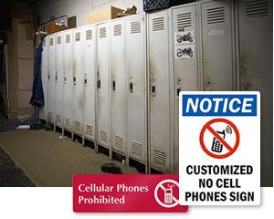 No Cell Phones in Locker Room Signs