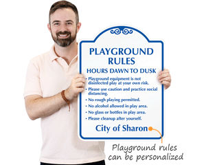 Personalized Playground rules sign