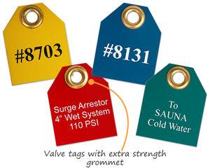 Plastic valve tags