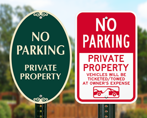 Private property no parking signs