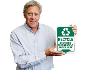 Recycle fluorescent tubes here sign