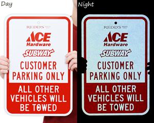 Reflective customer parking signs