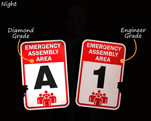 Reflective emergency assembly area signs at night