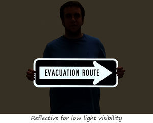 Reflective evacuation route sign