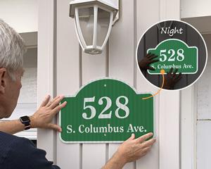 Reflective house address sign