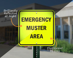 Reflective muster area sign