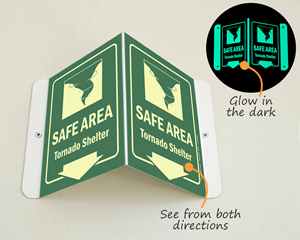 Safe area shelter sign
