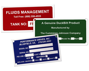Serial number nameplates for equipment