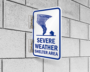 Severe weather sign for shelters