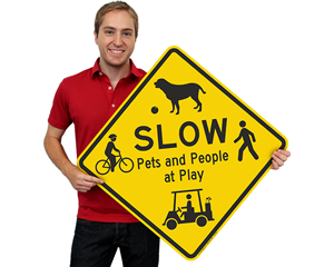 Slow Down Kids and People at Play Sign