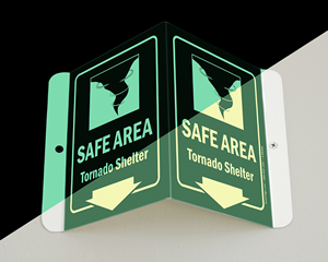 Tornado safe area sign – glow in the dark