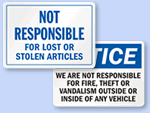 Not Responsible Signs