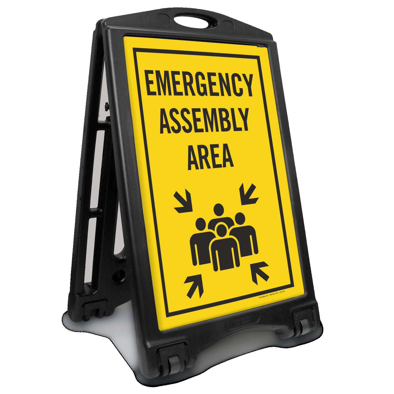 Emergency Assembly Area Sidewalk Sign Sku K Roll 1242