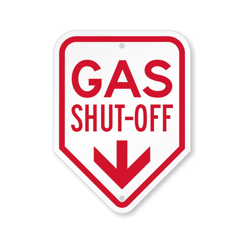 Gas Shut Off With Down Arrow Sign Sku K2 4945