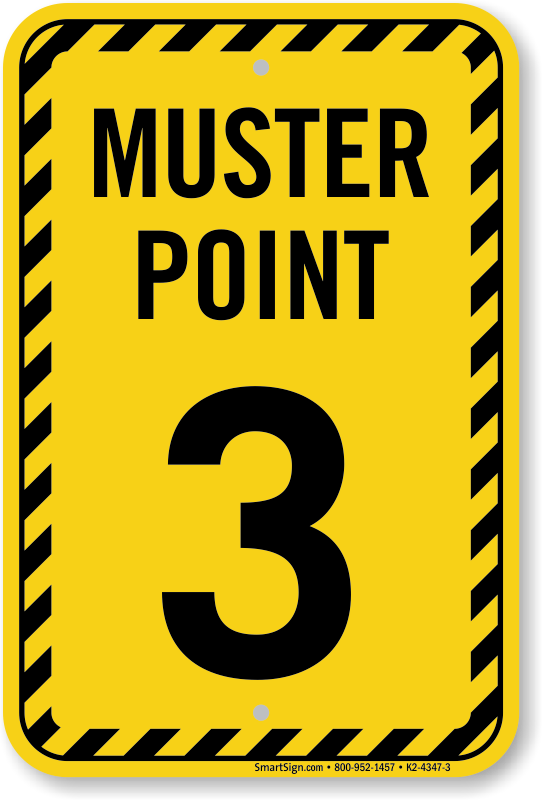 Muster Point Number Three Sign Sku K2 4347 3