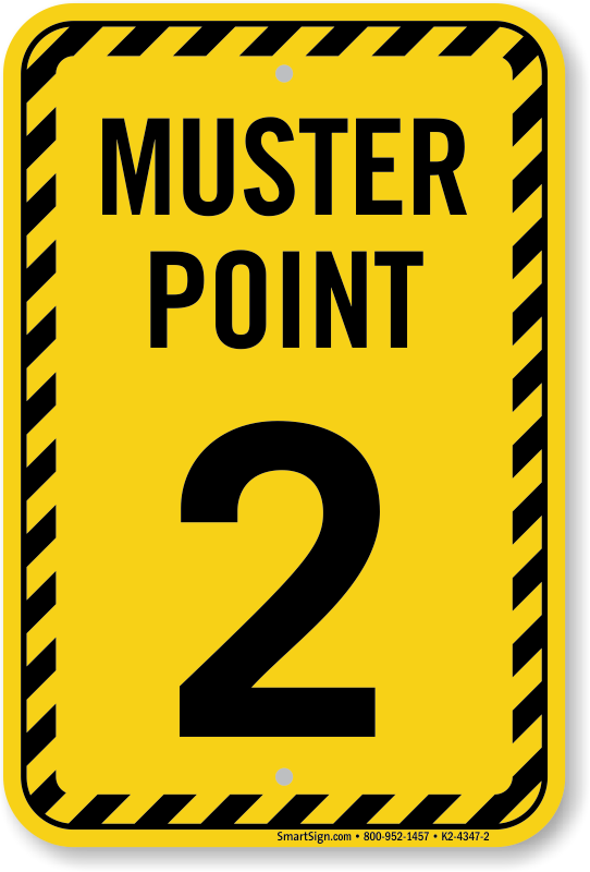 Muster Point Number Two Sign Sku K2 4347 2