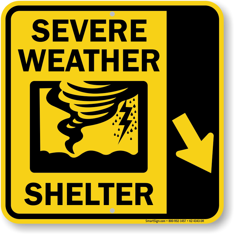 Severe Weather Shelter Down Right Arrow Sign Sku K2 4343 Dr