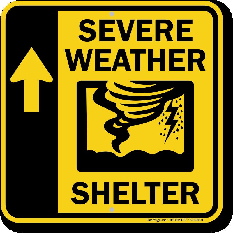 Severe Weather Shelter Up Arrow Sign Sku K2 4343 U