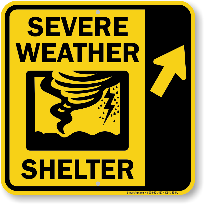 Severe Weather Shelter Upper Right Arrow Sign Sku K2 4343 Ur