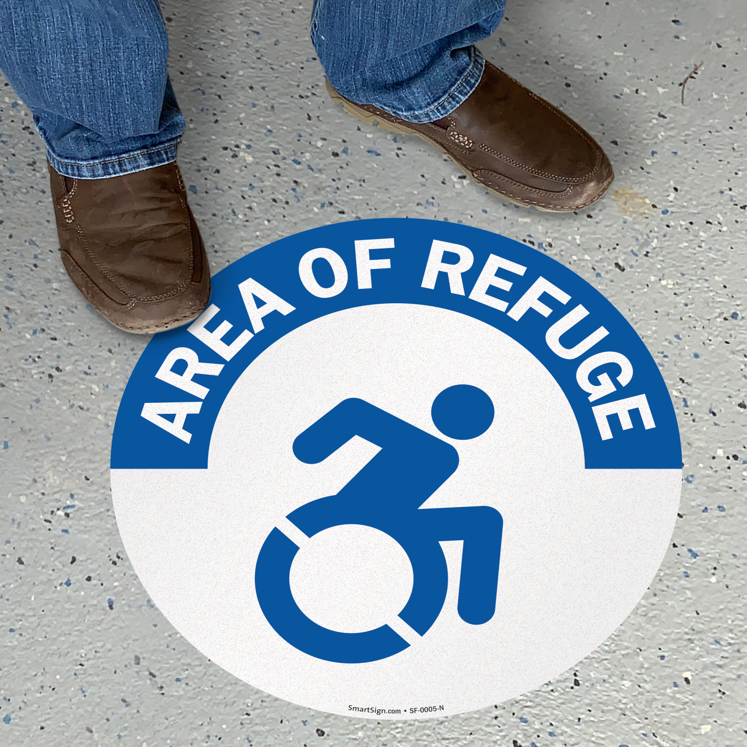 area of refuge floor sign updated accessible symbol sku sf 0005 n