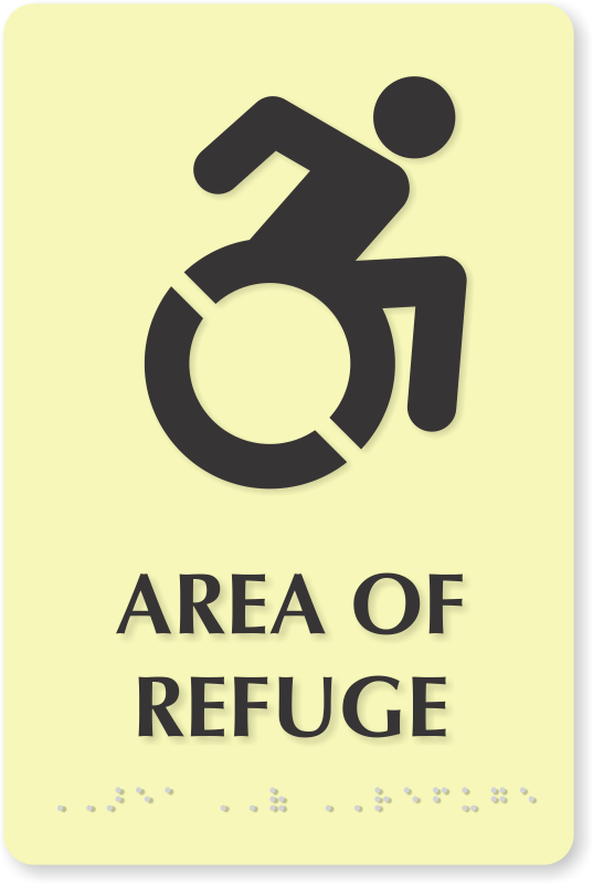glow area of refuge braille sign updated accessible symbol sku
