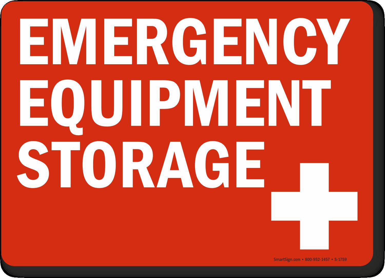 Emergency Equipment Storage Sign with Cross Symbol, SKU: S ...