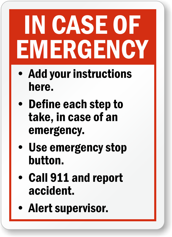 Custom emergency signs free shipping for orders over 25 zoom personalize maxwellsz