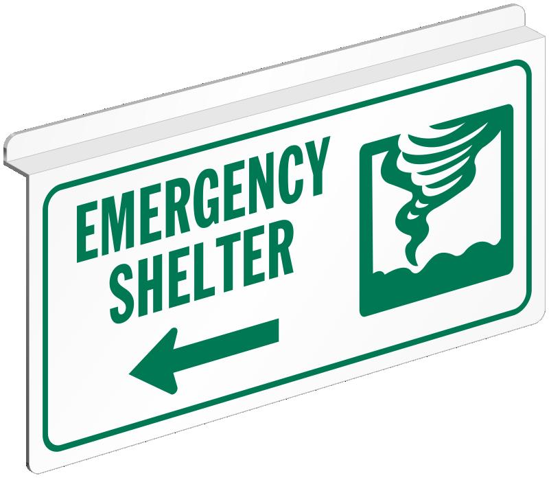 Emergency Shelter Sign For Ceiling Sku S2 1704